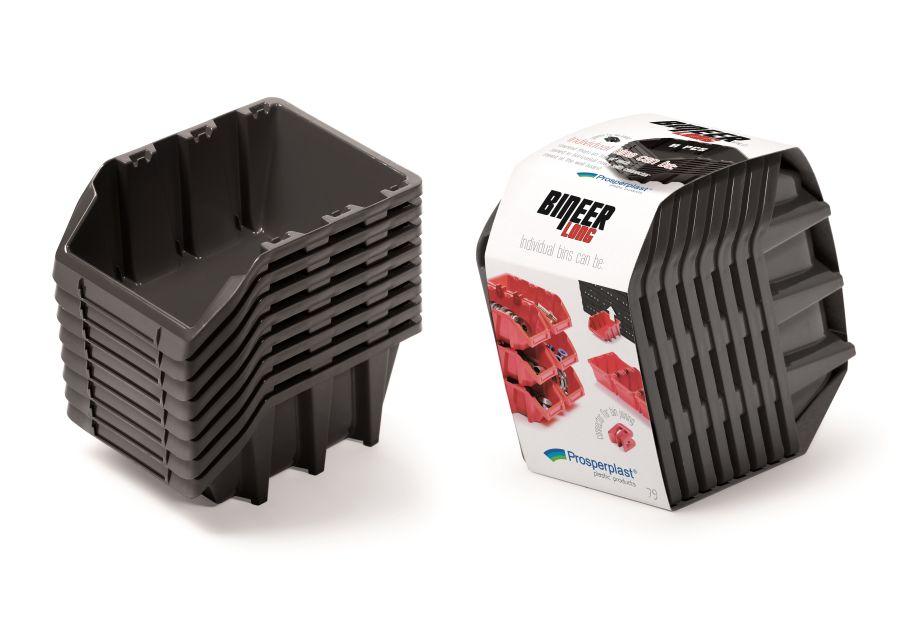 PROSPERPLAST Set plastových úložných boxů 8ks BINEER LONG SET 160x98x160 černý